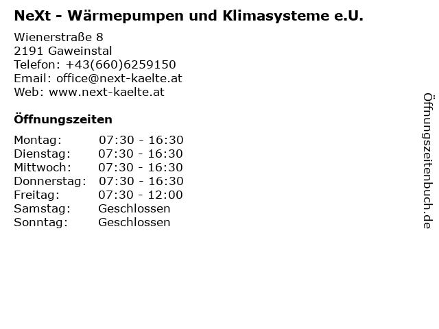 NeXt - Wärmepumpen und Klimasysteme e.U. in Gaweinstal: Adresse und Öffnungszeiten