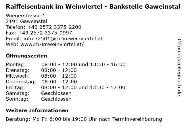 Raiffeisenbank im Weinviertel - Bankstelle Gaweinstal in Gaweinstal: Adresse und Öffnungszeiten