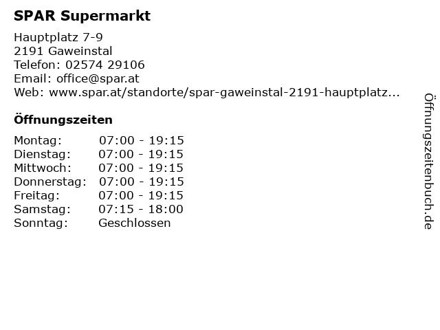 SPAR Supermarkt in Gaweinstal: Adresse und Öffnungszeiten