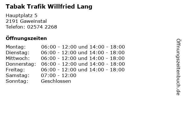 Tabak Trafik Willfried Lang in Gaweinstal: Adresse und Öffnungszeiten