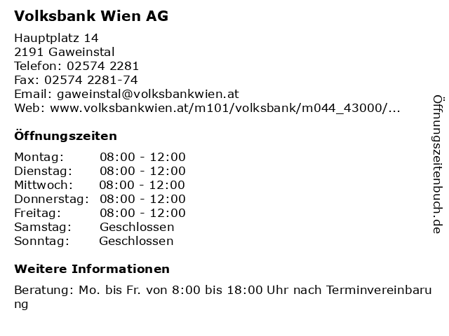 ᐅ öffnungszeiten Volksbank Wien Ag Filiale Gaweinstal