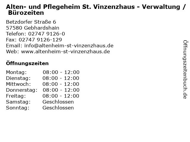 Alten- und Pflegeheim St. Vinzenzhaus - Verwaltung / Bürozeiten in Gebhardshain: Adresse und Öffnungszeiten