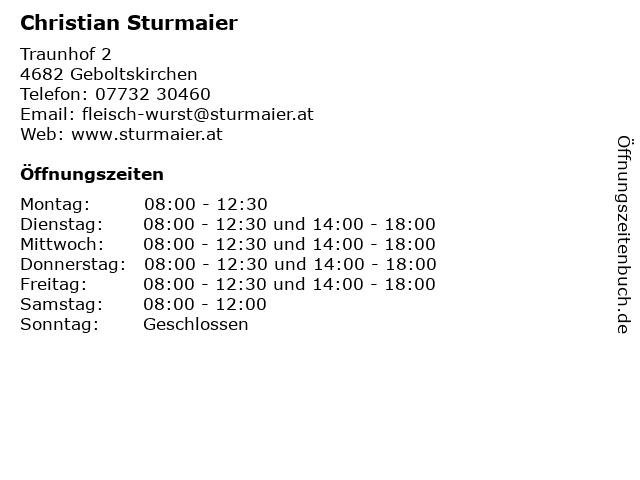 Christian Sturmaier - Metzger in Geboltskirchen: Adresse und Öffnungszeiten