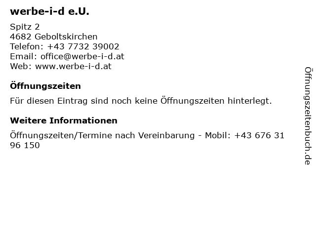 werbe-i-d e.U. in Geboltskirchen: Adresse und Öffnungszeiten