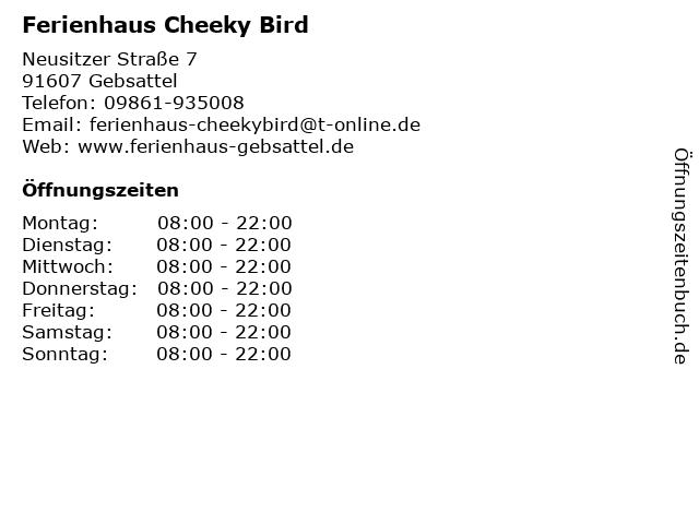 Ferienhaus Cheeky Bird in Gebsattel: Adresse und Öffnungszeiten