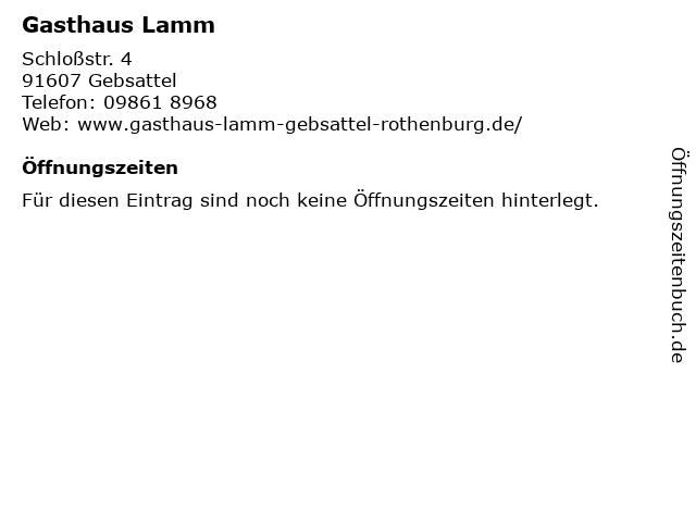 Gasthaus Lamm in Gebsattel: Adresse und Öffnungszeiten