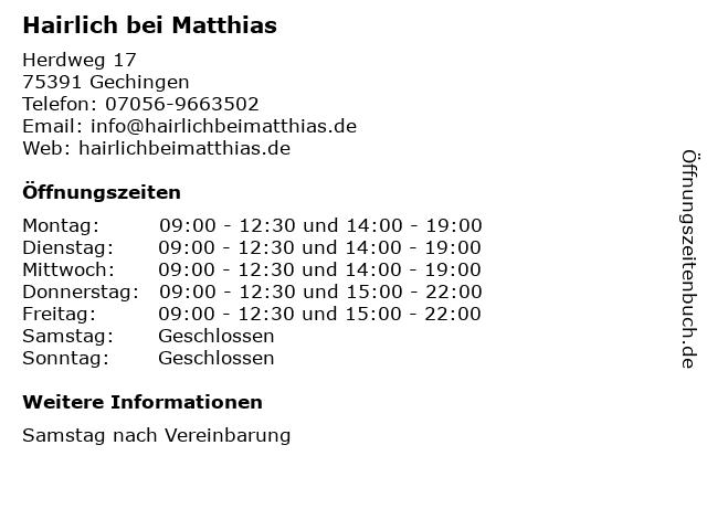 Hairlich bei Matthias in Gechingen: Adresse und Öffnungszeiten