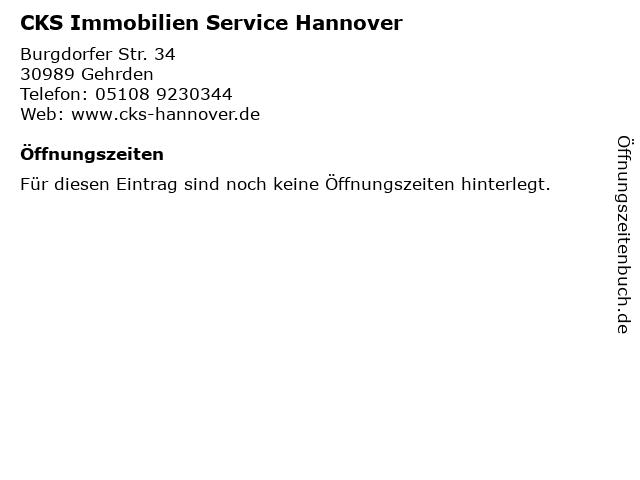 CKS Immobilien Service Hannover in Gehrden: Adresse und Öffnungszeiten