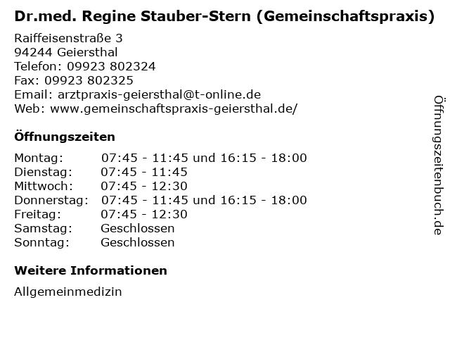 Dr.med. Regine Stauber-Stern (Gemeinschaftspraxis) in Geiersthal: Adresse und Öffnungszeiten