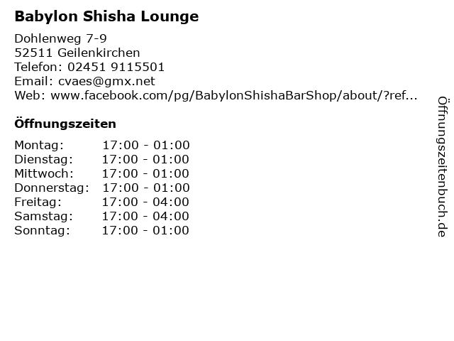 Babylon Shisha Lounge in Geilenkirchen: Adresse und Öffnungszeiten