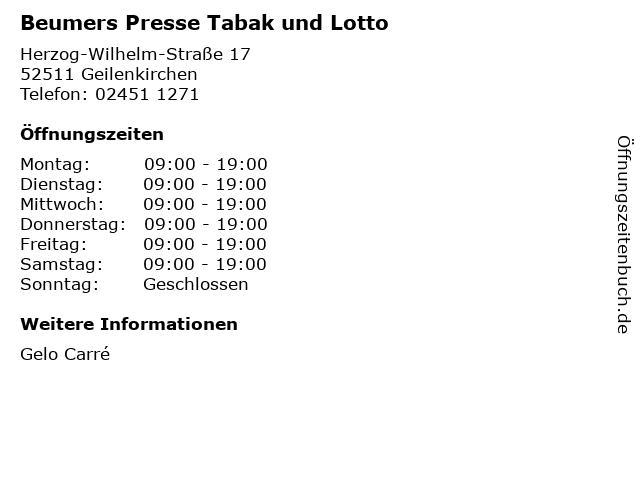 Beumers Presse Tabak und Lotto in Geilenkirchen: Adresse und Öffnungszeiten