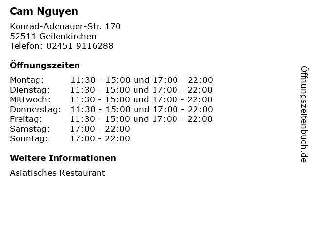 Cam Nguyen in Geilenkirchen: Adresse und Öffnungszeiten