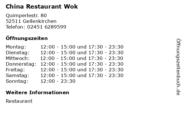 China Restaurant Wok in Geilenkirchen: Adresse und Öffnungszeiten