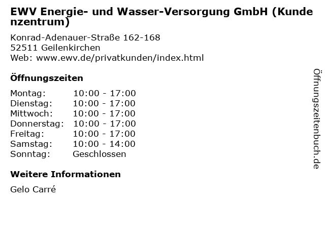 EWV Energie- und Wasser-Versorgung GmbH (Kundenzentrum) in Geilenkirchen: Adresse und Öffnungszeiten