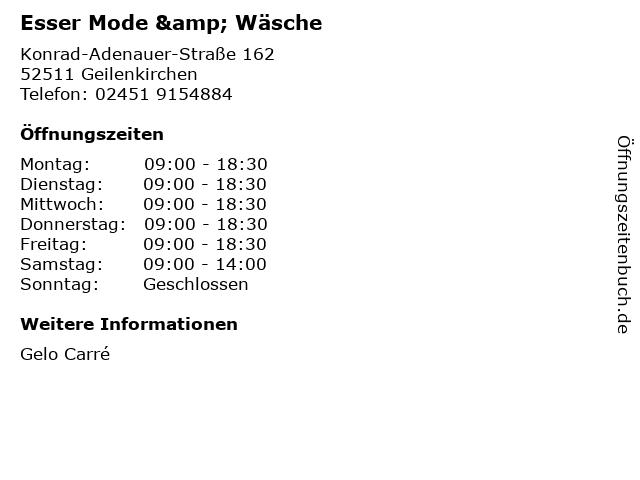 Esser Mode & Wäsche in Geilenkirchen: Adresse und Öffnungszeiten