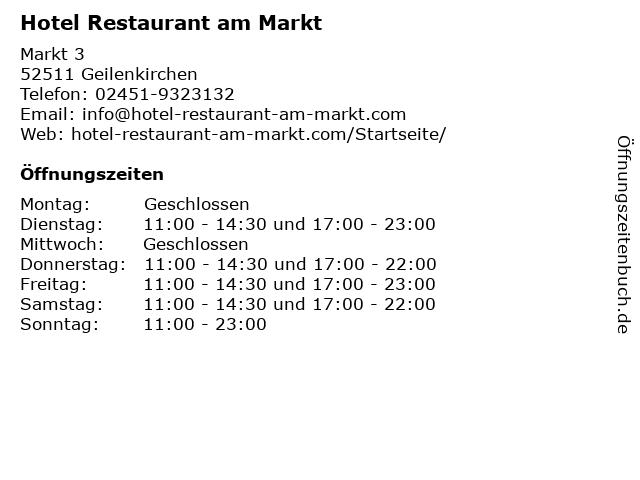 Hotel Restaurant am Markt in Geilenkirchen: Adresse und Öffnungszeiten