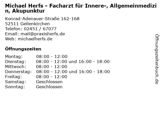Michael Herfs - Facharzt für Innere-, Allgemeinmedizin, Akupunktur in Geilenkirchen: Adresse und Öffnungszeiten
