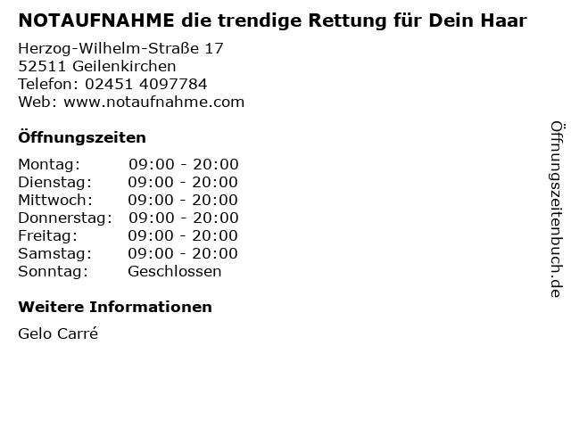 NOTAUFNAHME die trendige Rettung für Dein Haar in Geilenkirchen: Adresse und Öffnungszeiten