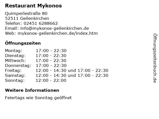 Restaurant Mykonos in Geilenkirchen: Adresse und Öffnungszeiten