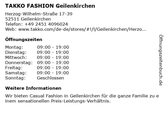 Takko Fashion in Geilenkirchen: Adresse und Öffnungszeiten