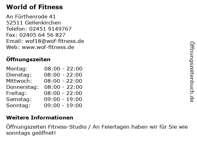 World of Fitness in Geilenkirchen: Adresse und Öffnungszeiten