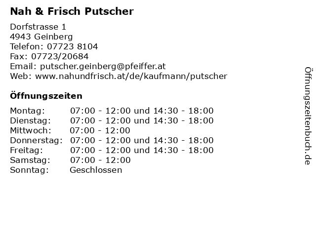 Nah & Frisch Putscher in Geinberg: Adresse und Öffnungszeiten