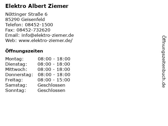Elektro Albert Ziemer in Geisenfeld: Adresse und Öffnungszeiten
