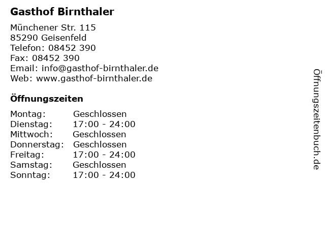 Gasthof Birnthaler in Geisenfeld: Adresse und Öffnungszeiten