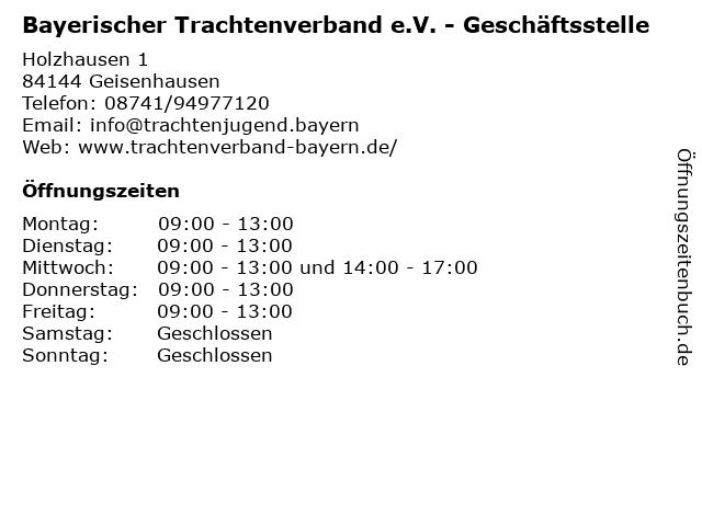 Bayerischer Trachtenverband e.V. - Geschäftsstelle in Geisenhausen: Adresse und Öffnungszeiten