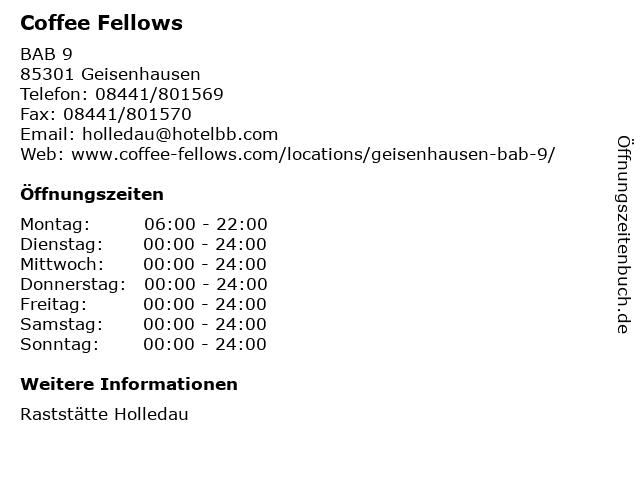 Coffee Fellows in Geisenhausen: Adresse und Öffnungszeiten