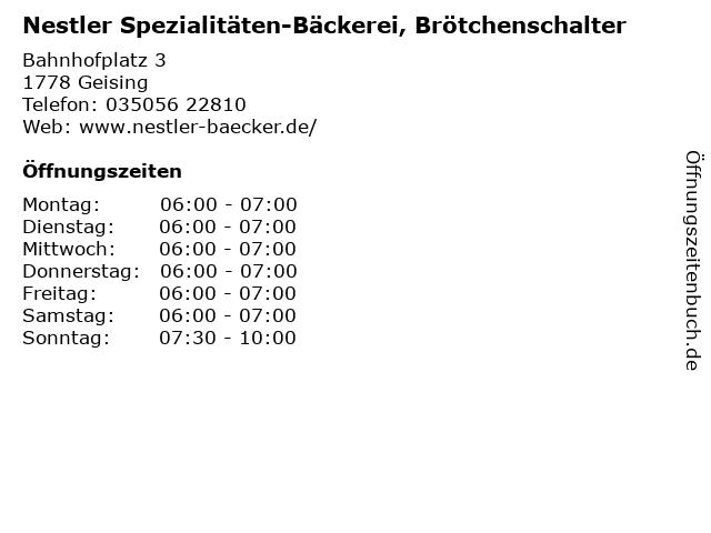 Nestler Spezialitäten-Bäckerei, Brötchenschalter in Geising: Adresse und Öffnungszeiten