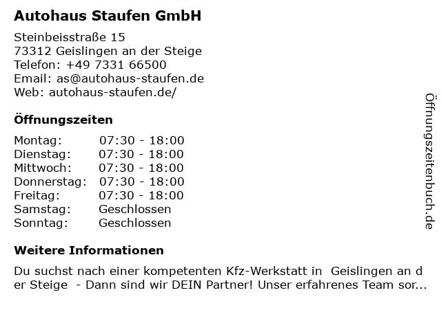 Autohaus STAUFEN GmbH in Geislingen: Adresse und Öffnungszeiten