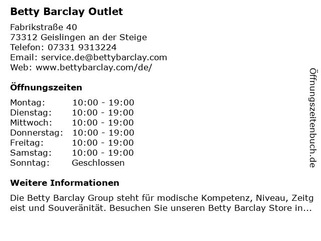 Betty Barclay Outlet in Geislingen an der Steige: Adresse und Öffnungszeiten