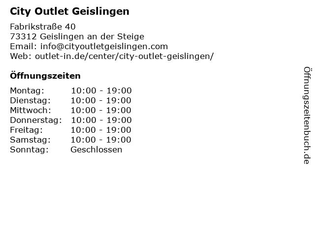 City Outlet Geislingen in Geislingen an der Steige: Adresse und Öffnungszeiten