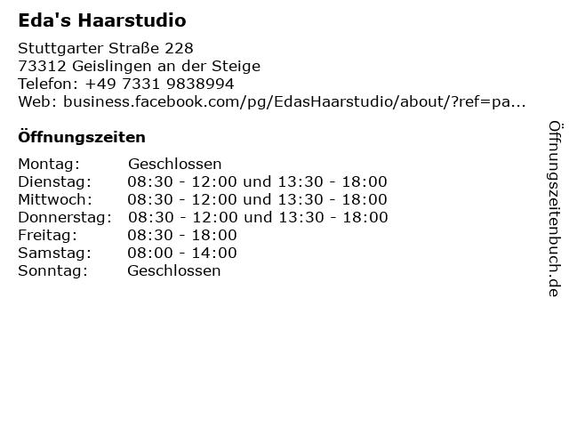 Eda's Haarstudio in Geislingen an der Steige: Adresse und Öffnungszeiten