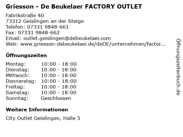 Griesson - De Beukelaer FACTORY OUTLET in Geislingen an der Steige: Adresse und Öffnungszeiten