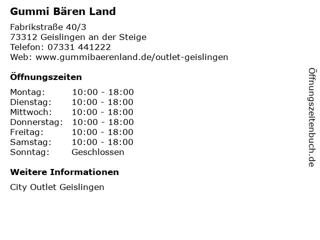 Gummi Bären Land in Geislingen an der Steige: Adresse und Öffnungszeiten