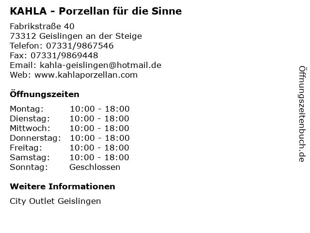 KAHLA - Porzellan für die Sinne in Geislingen an der Steige: Adresse und Öffnungszeiten