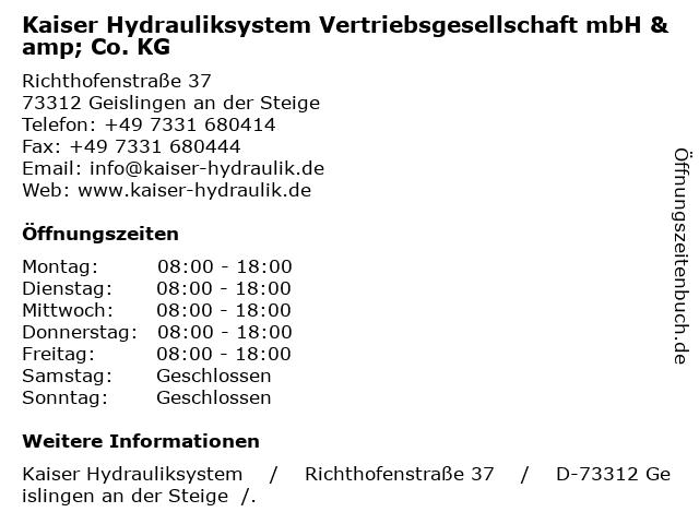 Kaiser Hydrauliksystem Vertriebsgesellschaft mbH & Co.KG in Geislingen an der Steige: Adresse und Öffnungszeiten