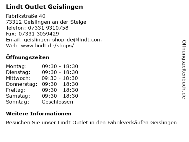 Lindt Outlet Geislingen in Geislingen an der Steige: Adresse und Öffnungszeiten
