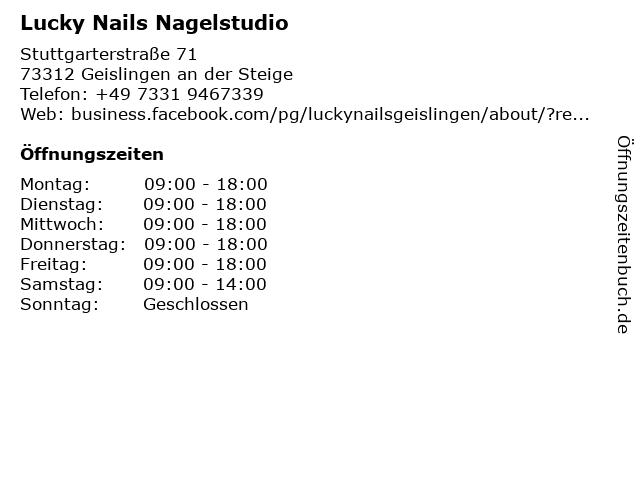 Lucky Nails Nagelstudio in Geislingen an der Steige: Adresse und Öffnungszeiten