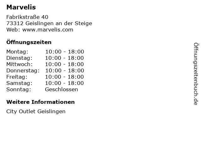 Marvelis in Geislingen an der Steige: Adresse und Öffnungszeiten