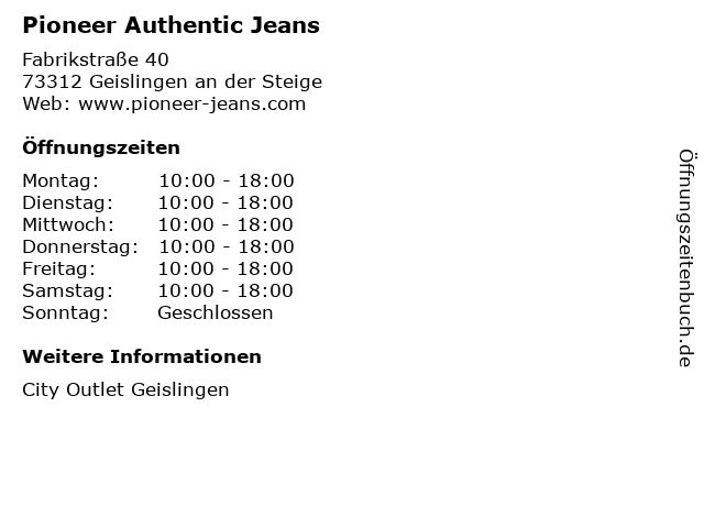 Pioneer Authentic Jeans in Geislingen an der Steige: Adresse und Öffnungszeiten