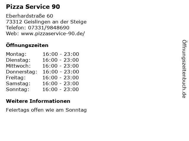 Pizza Service 90 in Geislingen an der Steige: Adresse und Öffnungszeiten