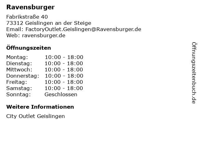 Ravensburger in Geislingen an der Steige: Adresse und Öffnungszeiten