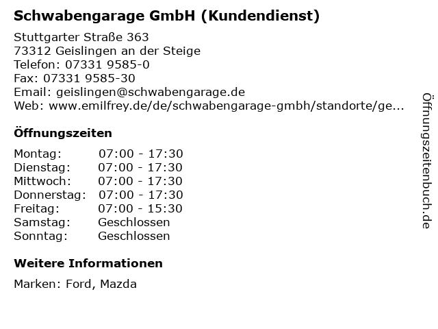 Schwabengarage GmbH (Kundendienst) in Geislingen an der Steige: Adresse und Öffnungszeiten