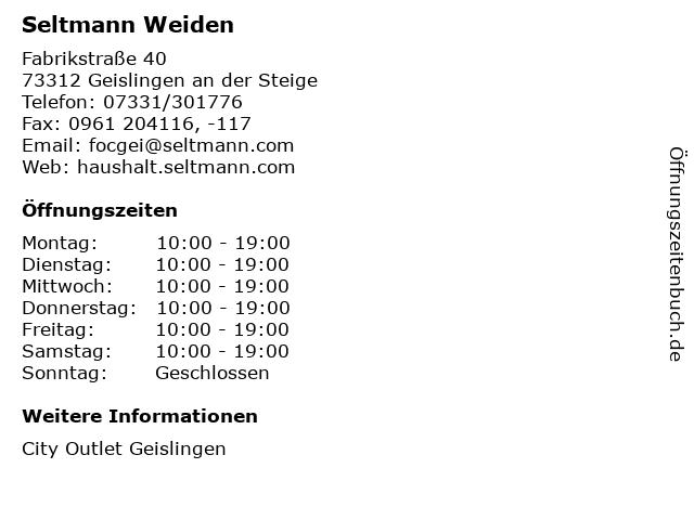 Seltmann Weiden in Geislingen an der Steige: Adresse und Öffnungszeiten