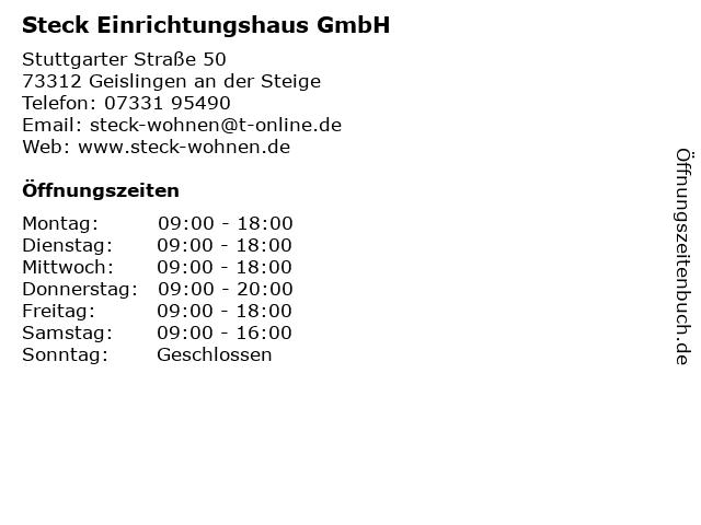 Steck Einrichtungshaus GmbH in Geislingen an der Steige: Adresse und Öffnungszeiten