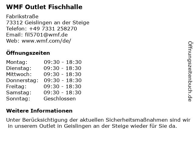 WMF Outlet Fischhalle in Geislingen an der Steige: Adresse und Öffnungszeiten