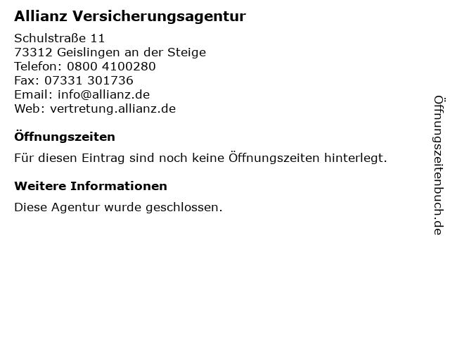 Allianz Versicherung- Kohler und Wassermann GbR Generalvertretung in Geislingen: Adresse und Öffnungszeiten